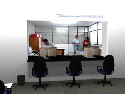 DEPOIS: salão de espera e balcão de informações.