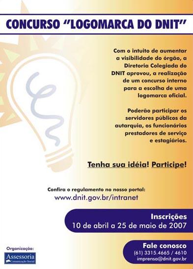 cartaz sobre o concurso para nova identidade visual do DNIT