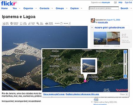 detalhe da tela do Flickr mostrando a localização da foto no mapa