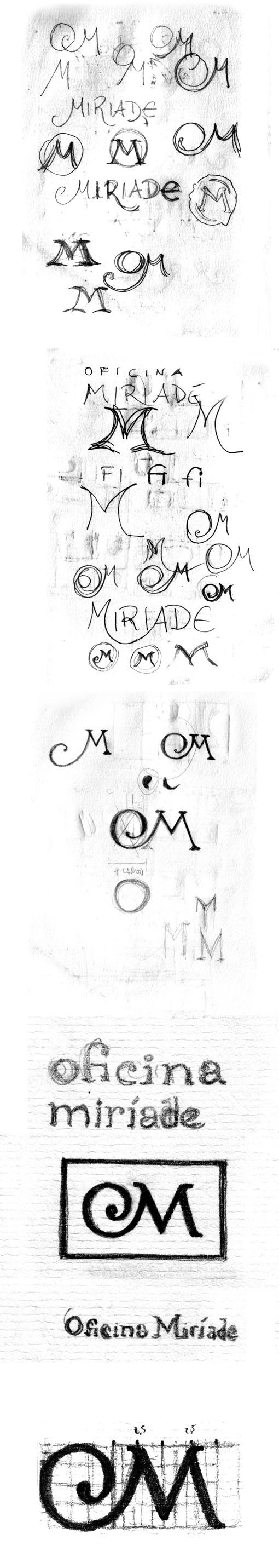 rascunhos do logo Oficina Miríade